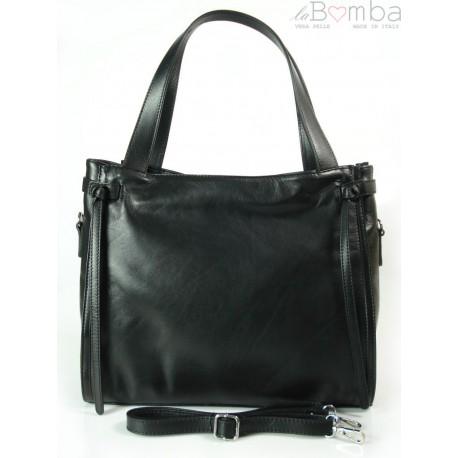 Duża włoska torebka Vera Pelle na ramię ,pojemna Czarna WLB199N