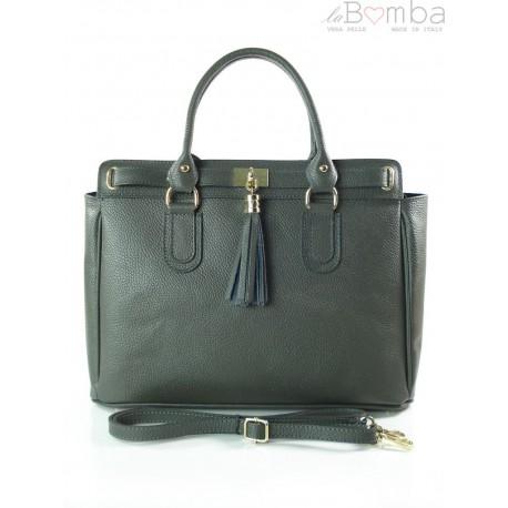 Włoska duża skórzana torebka A4 z frędzlem Vera Pelle Szara BERK4G