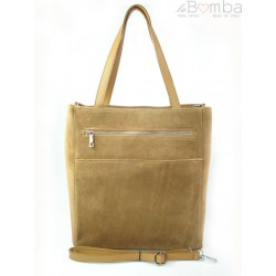Shopper bag Vera Pelle gruby zamsz aksamitny pojemny worek na ramię Camel SV55C