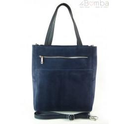 Shopper bag Vera Pelle gruby zamsz aksamitny pojemny worek na ramię Granatowa SV55BS