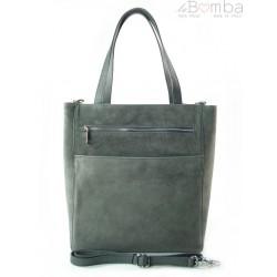 Shopper bag Vera Pelle gruby zamsz aksamitny pojemny worek na ramię Szara SV55G