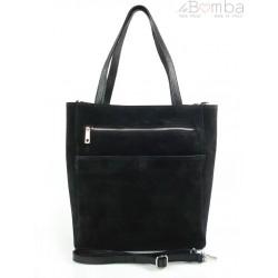 Shopper bag Vera Pelle gruby zamsz aksamitny pojemny worek na ramię Czarna SV55N