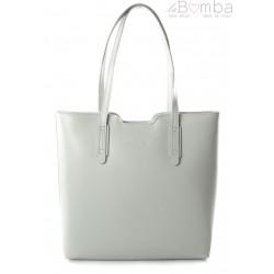 Duża torba na ramię Vera Pelle xxl shopper bag włoska skóra szara jasna SB633G