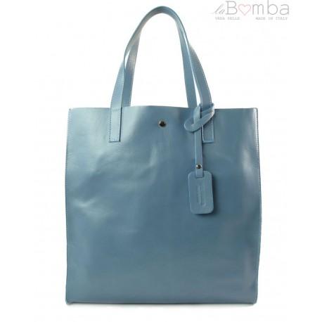 Duży pojemny worek Shopper bag na ramię Vera Pelle Błękit ciemny GL46B2