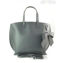 Włoska torba A4 Shopper Bag Vera Pelle Szara grafit SB689G1