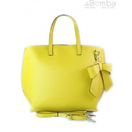 Włoska torba A4 Shopper Bag Vera Pelle Żółta SB689GL