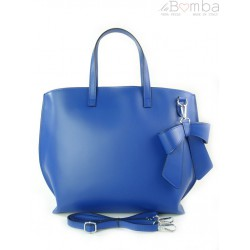Włoska torba A4 Shopper Bag Vera Pelle Niebieska SB689BLU