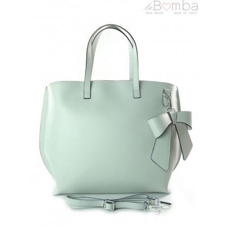 Włoska torba A4 Shopper Bag Vera Pelle Szara jasna SB689G2
