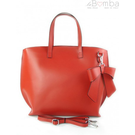 Włoska torba A4 Shopper Bag Vera Pelle Czerwona SB689R2