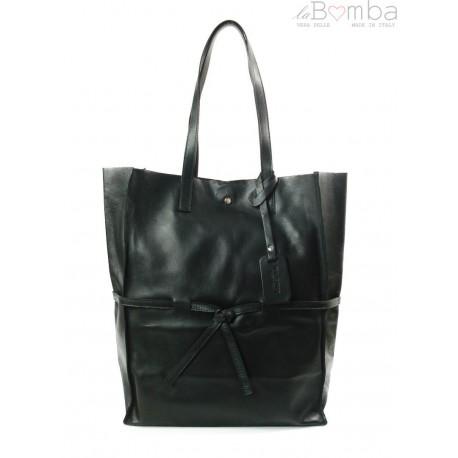 Duży pojemny worek XXL Vera Pelle Shopper bag A4 czarny VPX57N