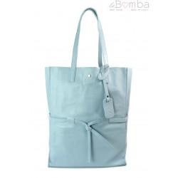 Duży pojemny worek XXL Vera Pelle Shopper bag A4 błękitny VPX57BB