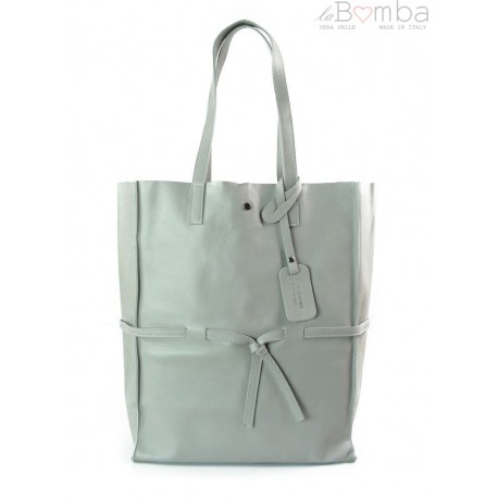 Duży pojemny worek XXL Vera Pelle Shopper bag A4 szary VPX57G