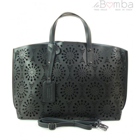 Shopper Bag Vera Pelle Ażurek czarna SB543N