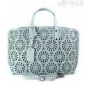 Shopper Bag Vera Pelle Ażurek błękitna SB543BB