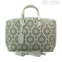 Shopper Bag Vera Pelle Ażurek beżowa SB543T