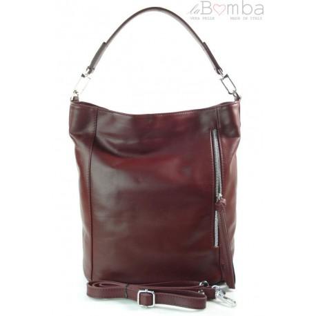 Włoski worek Vera Pelle bordowy srebrne okucia, pojemna torba A4 W585R