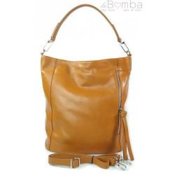 Włoski worek Vera Pelle camel srebrne okucia, pojemna torba A4 W585C
