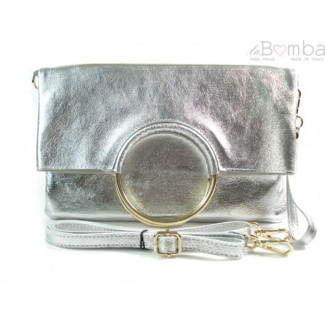 Skórzana srebrna listonoszka 2w1 Vera Pelle VPX121ARG