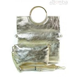 Skórzana złota listonoszka 2w1 Vera Pelle VPX121ORO