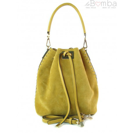 Duży zamszowy skórzany worek na ramię złote okucia dzety brudny żółty MK46G