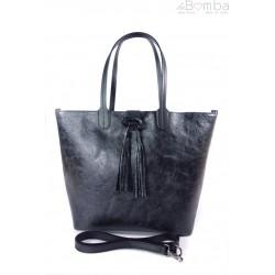 Duża torba Shopper Bag na ramię Vera Pelle Nero czarna SB599N