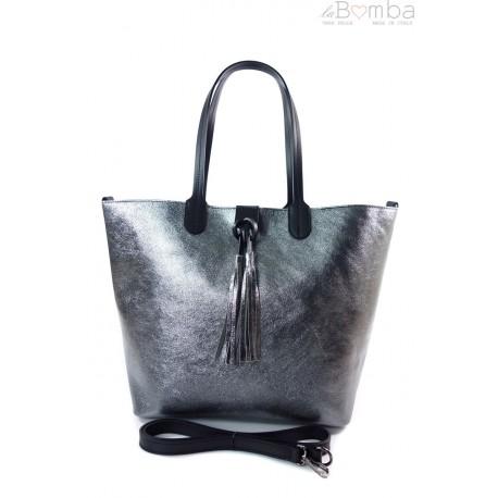 Duża torba Shopper Bag na ramię Vera Pelle Antracite SB599A