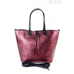 Duża torba Shopper Bag na ramię Vera Pelle Bordo SB599RR