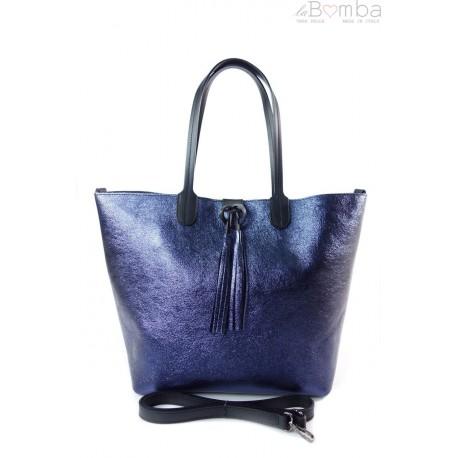Duża torba Shopper Bag na ramię Vera Pelle Blue SB599BS