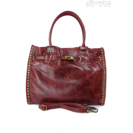 Duża pojemna torba na ramię Shopper Bag bordo SB577RR