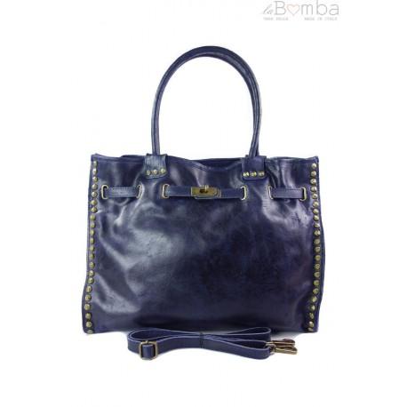 Duża pojemna torba na ramię Shopper Bag granatowa SB577BS