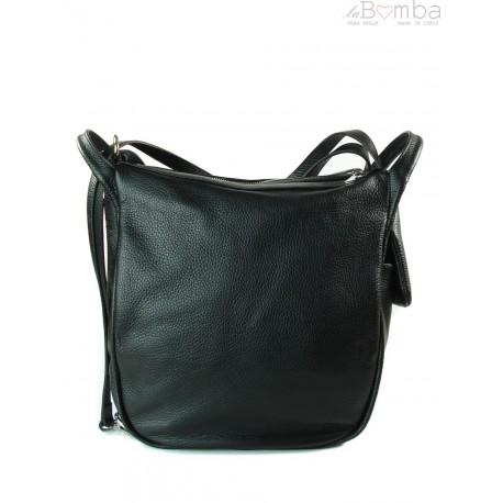 Worek, plecak , duża torba trzy komory srebrne okucia, pojemna A4 Czarna W393N