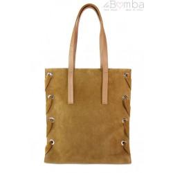 Zamszowa torba Shopper bag ,duży worek, kółka, Vera Pelle pojemny Camel WK745C