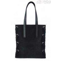 Zamszowa torba Shopper bag ,duży worek, kółka, Vera Pelle pojemny Czarna WK745N