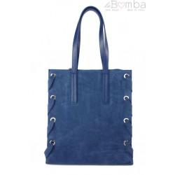 Zamszowa torba Shopper bag ,duży worek, kółka, Vera Pelle pojemny Niebieski WK745BS