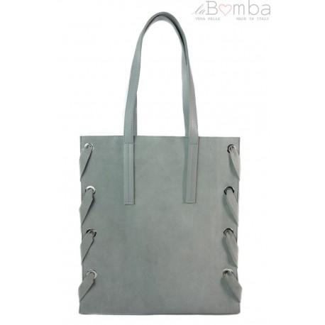 Zamszowa torba Shopper bag ,duży worek, kółka, Vera Pelle pojemny Szara WK745G