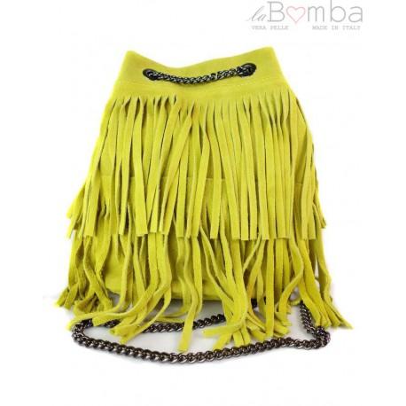 Zamszowa listonoszka ,worek frędzle,włoska skóra Vera Pelle Żółty WL45GL