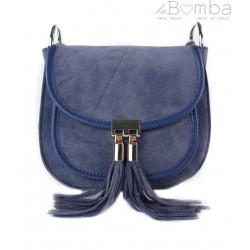 Listonoszka podkówka, zamsz frędzle ,srebrne okucia Vera Pelle Blue Jeans VP191BJ