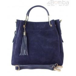 e6e7a55cf6813 Zamszowy włoski kuferek Shopperka A4 ,złote okucia + frędzelek ,Granatowy  Vera Pelle KLV55BS