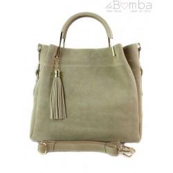 Zamszowy włoski kuferek Shopperka A4 ,złote okucia + frędzelek ,Beżowy Vera Pelle KLV55T
