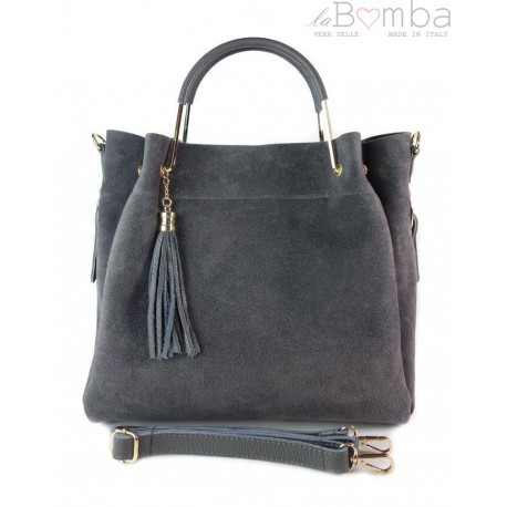 Zamszowy włoski kuferek Shopperka A4 ,złote okucia + frędzelek ,Szary Vera Pelle KLV55G