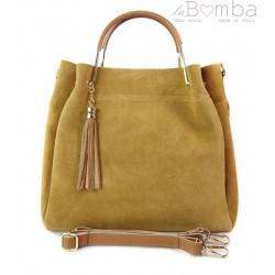 Zamszowy włoski kuferek Shopperka A4 ,złote okucia + frędzelek ,Camel Vera Pelle KLV55C