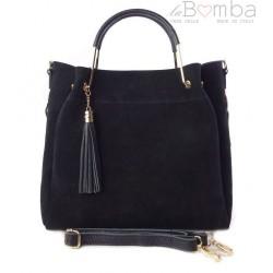 8baa53fff7679 Zamszowy włoski kuferek Shopperka A4 ,złote okucia + frędzelek ,Czarny Vera  Pelle KLV55N