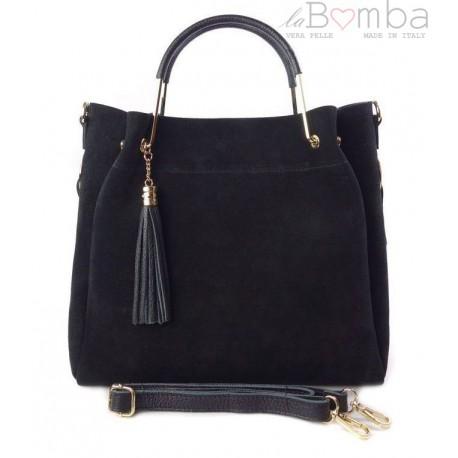 Zamszowy włoski kuferek Shopperka A4 ,złote okucia + frędzelek ,Czarny Vera Pelle KLV55N