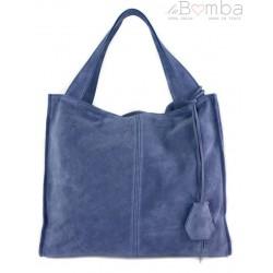 Duża zamszowa torba XXL Shopper bag ,worek Vera Pelle pojemny Blue Jeans WK799BJ