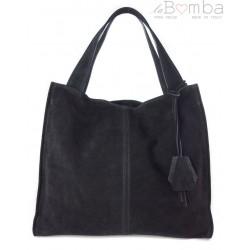 Duża zamszowa torba XXL Shopper bag ,worek Vera Pelle pojemny Czarny WK799N