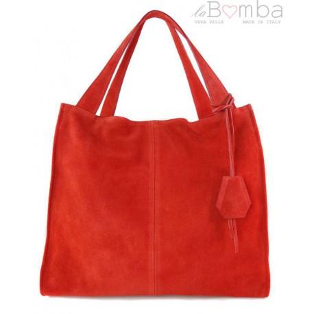 Duża zamszowa torba XXL Shopper bag ,worek Vera Pelle pojemny Czerwony WK799R