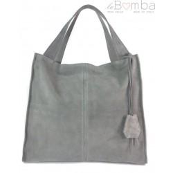 92a5a1e786817 Duża zamszowa torba XXL Shopper bag ,worek Vera Pelle pojemny Szary WK799G