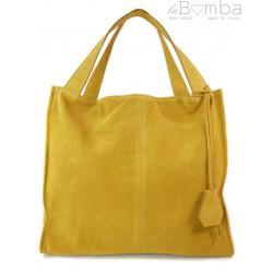 54fb1da10958f Duża zamszowa torba XXL Shopper bag ,worek Vera Pelle pojemny Miodowy  WK799GM
