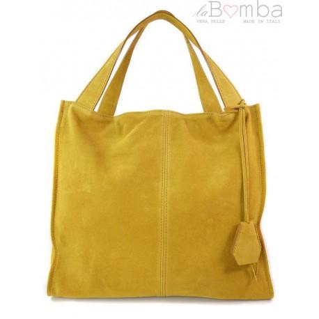 Duża zamszowa torba XXL Shopper bag ,worek Vera Pelle pojemny Miodowy WK799GM