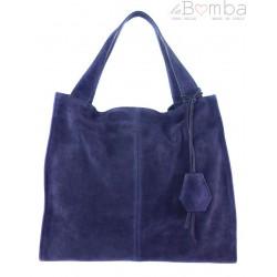 Duża zamszowa torba XXL Shopper bag ,worek Vera Pelle pojemny Granatowy WK799BS